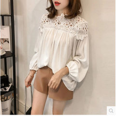 2018 spring and autumn new Korean version loose large size fashion hook hollowed-out lace mosaics ch white m