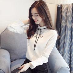 实拍2018春季新款甜美长袖雪纺衫女显瘦立领系带打底衫上衣女潮 白色 S