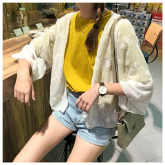Green children real photo of summer new sweet and versatile embroidery seven-point sleeve sun protec white All code