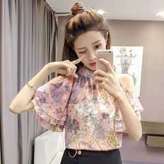 A large amount of stock 2018 summer new shoulder-less flying sleeve chiffon blouse women loose Korea pink s.