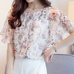 Make floral chiffon unlined upper garment of female the new summer 2018 han edition batwing coat sup Ground color s.