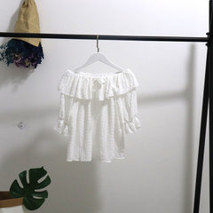 [manufacturer`s special offer]2018 summer new loose 100 pleated chiffon sweater, lotus leaf edge, sh white All code