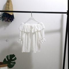[厂家特价跑量]2018夏新款宽松百褶雪纺衫荷叶边露肩t恤衫娃娃衫 白色 均码