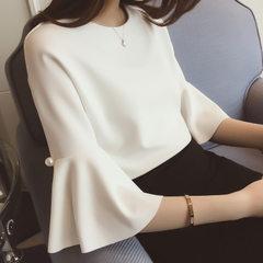 2018夏装新款纯色喇叭袖圆领宽松百搭中袖雪纺衫上衣女 白色 S