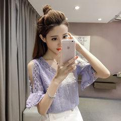 雪纺衫短袖女 2018夏装新款气质淑女喇叭袖镂空v领露肩上衣 白色 S