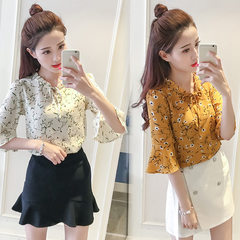 A large number of spot 2018 summer wear loose and thin chiffon shirt V neck 100 set horn sleeve shor yellow s.