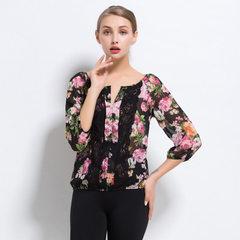 2017新款欧洲站性感蕾丝拼接雪纺衫 七分袖雷丝拼接衬衫一件代发 C013黑花 XS