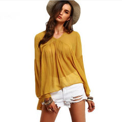 Spring and autumn new fashion v-neck pleated horn sleeve loose chiffon manufacturers direct sales yellow s.