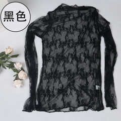 New style fashionable Korean version of large size net yarn see-through cardigan transparent sexy bl 2018 new high explosive (black) All code