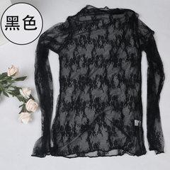 新款时尚韩版大码网纱透视打底衫透明性感黑色女士上衣厂家批发 2018新款高弹(黑) 均码