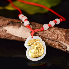 Hot - selling jewelry gold embroidery jade fortune bag to attract wealth A goods jade pendant men an Pendant + rope + box + handbag