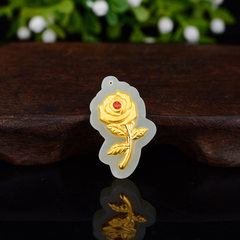 F gold embroidery jade rose pendant and tianyu rose pendant 3D hard gold valentine`s day gift exhibi Flowers 15.18 * 25.58 mm