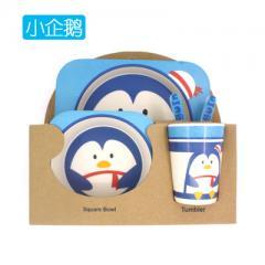 Baoyu natural bamboo fiber children tableware bowl set animal dinner plate spoon fork cup set of 5 p The penguin 27 * 24.7 * 1