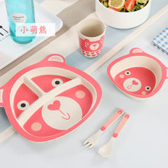 Bamboo fiber children`s dinner plate set division household cute cartoon rice bowl baby dining table Little of the bear 5 head