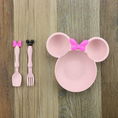Straw children bowl mickey cutlery cartoon fork spoon fruit bowl split lattice bowl lovely gift set  Pink A, The carton packaging