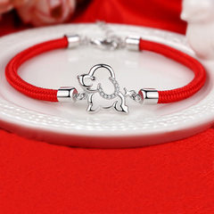 Pure silver bracelet women this life red rope dog year bracelet national wind lucky weaving handicra 925 silver