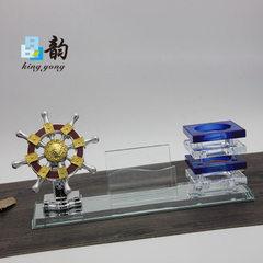 晶韵厂家定制K9材质水晶笔筒三件套摆件船舵造型纪念礼品按期发货 310*90*130mm