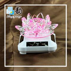 Jingyun factory supply k9 material crystal lotus decoration car furniture solar rotating decoration  100 * 100 * 80 mm