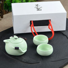 Asguang glaze tea set special price high-end gift box a pot of two cups travel tea set promotional g Inferior smooth green