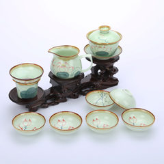 10 hand-painted celadon bowl ceramic utensils ceramic tea set kungfu lotus tea set special price who Dutch rhyme