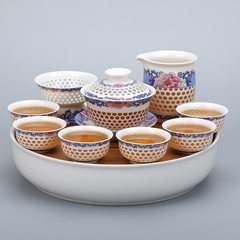 Bamboo plate honeycomb cover bowl ceramic utensils linglong hollow creative gift tea set wholesale 01 gold wire