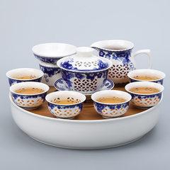 Bamboo tray linglong hollow transparent tea set cover bowl ceramic tea set utensils tea plate gifts  01 the sunflower