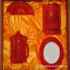 China red porcelain poetry set business gifts office equipment portable environmental protection 4 - red