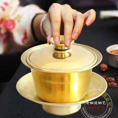 All copper copper copper cover bowl tea cup tea bowl tea set hand cup copper tea cup kung fu beer co copper