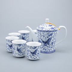 Blue and white beauty pot pottery appliance tea ware dehua ceramic tea ware kung fu tea set gifts ma Incense dances