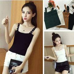2018 summer wear new Korean version knitwear women`s halter vest short style slim body display solid white All code