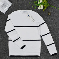 2016 new long-sleeved pullover for men`s and women`s wear: pure cotton, black and white round neck,  white All code