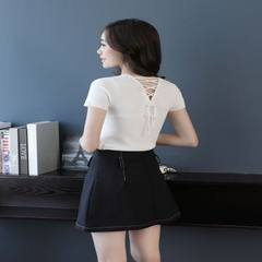 Spring and summer 2018 new brand women`s wear T-shirt yuan collar short sleeve sole clothing wholesa white All code