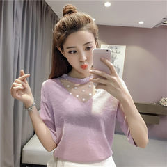 Real shot 2018 spring and summer new style sweet slim slim, bright silk knitted undershirt, short sl white All code