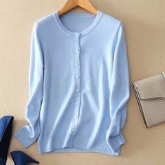 Spring 2018 new women`s coat knitted cardigan woollen jersey Korean version of thin sweater women ca pink Round collar S