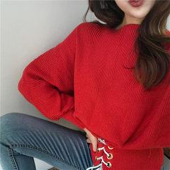 实拍  港味chic纯色宽松收腰百搭长袖毛衣系带套头上衣#5277 红色系带毛衣 均码