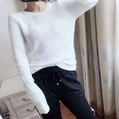 Z special *ro women`s solid color knitwear base cotton white knitwear white All code