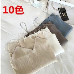 2017韩版新款百搭潮性感夏季细吊带打底毛衣针织衫时尚修身上衣女 白色 均码