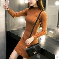 Autumn/winter 2018 new half-turtleneck middle and long Korean version slim dress, hip knitting and l white All code