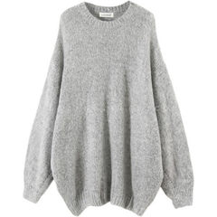 Ulzzang women`s wear Korean version of the new languid slouching large size loose oversize coat wome gray All code