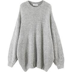ulzzang女装韩版新款慵懒风大码宽松oversize外套女马海毛毛衣 灰色 均码