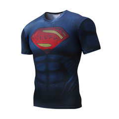 Superman T-shirt outdoor sports cycling fitness clothing summer short sleeve quick dry clothing roun New blue superman s.