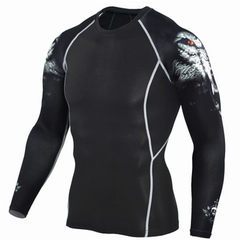 Men`s sports tights cool fashion floral arm sports jerky fitness wear long sleeve size breathable TC96 Wolf head with long sleeves s.