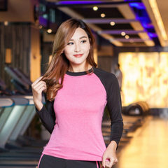 Women`s yoga suit spring and autumn long sleeve top fitness suit running suit gym tight sportswear Peach pink and black s.