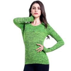 New section dyed autumn winter yoga wear long sleeve sport T-shirt women`s speed dry running jacket  green s.