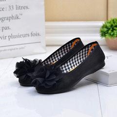 2018韩版女单鞋新款绒面大花豹纹浅口平底单鞋时尚百搭舒适休闲鞋 黑色 35