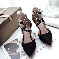 Spring and summer 2018 new riveted cat and shoe a word button pointed thin heel high heel sexy cross black 34