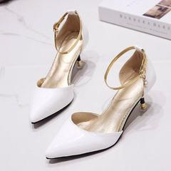 2018春夏季新款凉鞋高跟细跟鞋一字扣带韩版尖头中空鞋单鞋女鞋子 白色 35