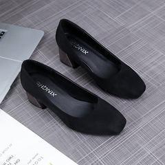 2018春季新款小方头粗跟单鞋浅口高跟绒面复古百搭奶奶鞋批发 黑色 34