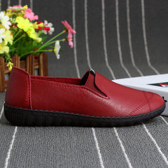 2018春新款休闲单鞋软底防滑舒适妈妈鞋女平底中老年奶奶皮鞋批发 红色 36-40