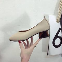 2018春季新品韩版方头中跟奶奶鞋女鞋金属跟浅口单鞋高跟批发 杏色 35